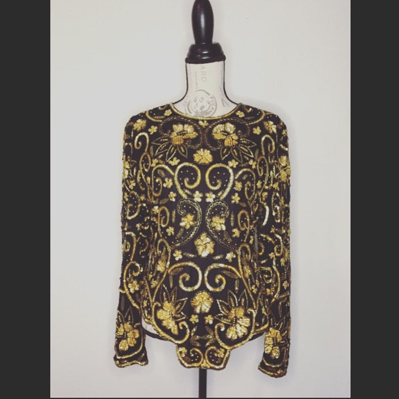 Silk And Sequin Vintage Top Scalloped Detailing