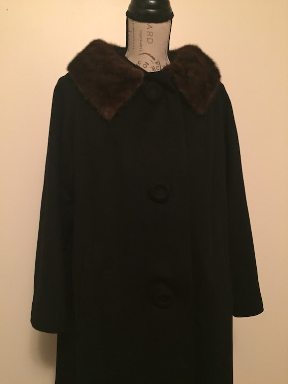 Vintage Wool Blend Coat, Fur Collar, Womens Winter