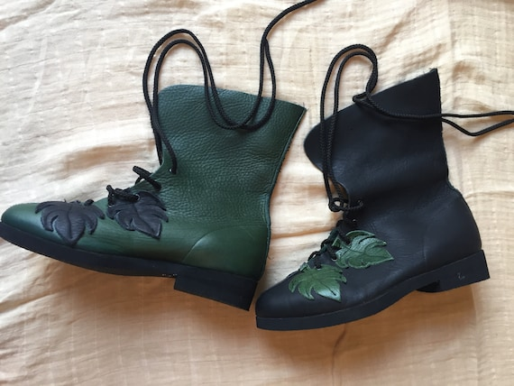 Leather Boots, Ropers, Boho, Black and Green, Lace
