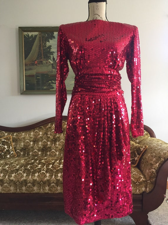 Sequin Dress, Vintage Dress, Red Sequin Dress, Coc