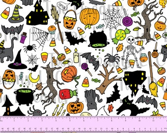 100% COTTON Halloween Sketches 60 Inches WIDE Fabric Cotton Poplin Doodles Jack-o-Lantern Candy Black Ghost Custom CPSIa Certified