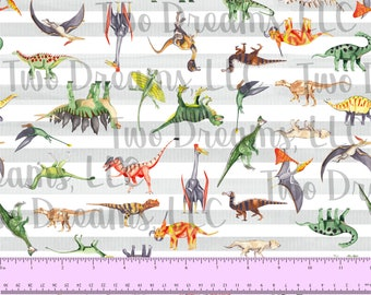 100% COTTON Dinosaurs Stripes T-Rex Tyrannosaurus Triceratops Velociraptor Stegosaurus 60 Inches WIDE Quilting Cotton Custom Poplin