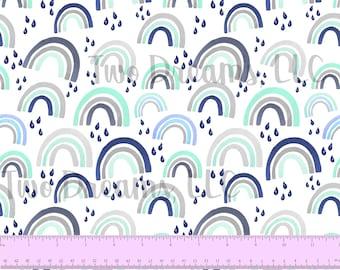 100% COTTON Boy Rainbow Pastel Watercolor Navy Blue Gray Mint Rainbow Baby 60 Inches WIDE Quilting Cotton Custom Cotton Poplin