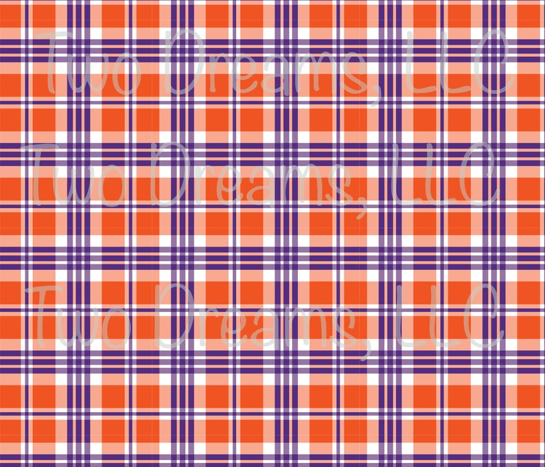 cc0e87d6bb5 Clemson Tigers Plaid Jersey Knit Fabric Purple and Orange | Etsy