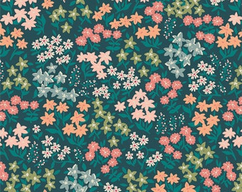 Forget Me Not Hideaway AGF PREMIUM COTTON Blue Floral Art Gallery Fabrics 100% Premium Cotton Quilting Fabric Mask Fabric Green Peach Coral