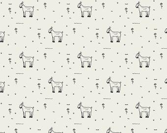 Grazing Goats AGF PREMIUM COTTON Goats Art Gallery Fabrics 100% Premium Cotton Quilting Boy Mask Fabric Unisex White and Black