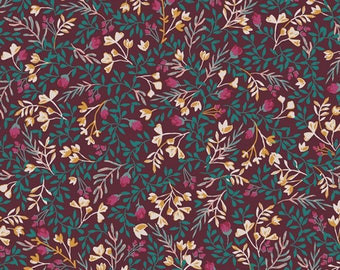Floral No.9 Foresta AGF PREMIUM COTTON Maroon Burgundy Teal Floral Art Gallery Fabrics 100% Premium Cotton Quilting Fabric Mask Fabric Jewel