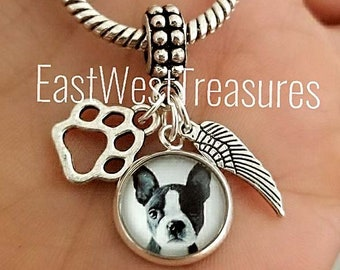 2d694509a Custom Boston terrier Dog memory memorial photo charms for DIY European and Pandora  charm bracelet and necklace -Photo dog charm