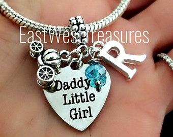 8c4ac1e65 Father Daughter Daddy's girl princess charm bracelet necklace-Birthday girl  Jewelry gift for daughter from father-gift for girls teens women