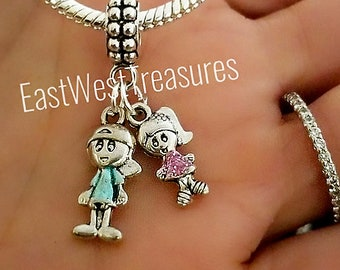 ab1d2a9b7 Personalized birthstone gift for Mom of twins boy girl son daughter charms  for DIY European and Pandora charm bracelet and necklace-Jewelry
