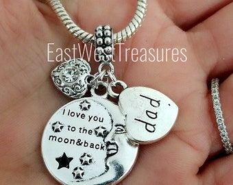 Love My father Dad to the moon charm pendant-For European bracelet and  necklace-dad griveing charm-memory of my dad charm-gift for her women 216c430453e7