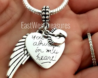 690edc56f Miscarried Angel baby boy girl footprint on heart Charm bracelet necklace-Miscarriage  gift-memory memorial loss of child baby infant jewelry