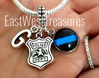 Personalized Bracelet Necklace Keychain with Serve and protect Charm Police officer Thin Blue Line Jewelry Gift