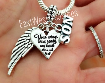 d4adfe154 Loss memory of Son Memorial charms bracelet and necklace -Sympathy  Condolence jewelry gift for Grieving mother-Your wings were ready