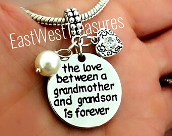 be4d58a8c Mothers day Gift for Grandmother Grandson charm Bracelet and necklace and  keychain-Grandmother jewelry gift from Grandson-Gift for Grandma