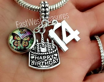 14th Birthday Jewelry Gift For Girls Cake Charm Bracelet Necklace 14 Year Old