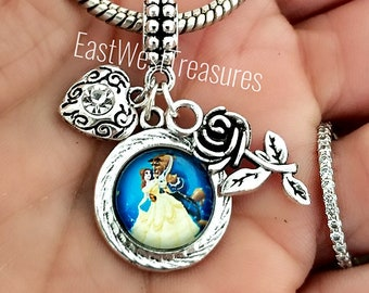 6b5edd3b6 Belle Beauty and the Beast inspired Enchanted Rose charm bracelet necklace  keychain-Belle charms-Belle and the Beast charms-Jewelry gifts