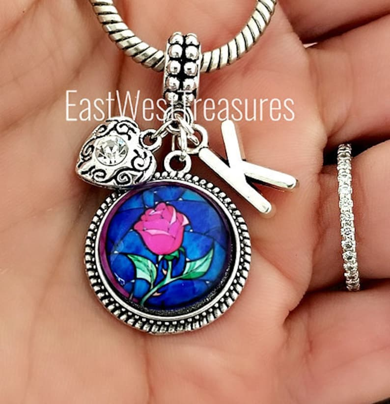 Beauty and the Beast inspired Enchanted Rose jewelry gifts for girls her women-charm bracelet and necklaces-Enchanted Rose flower charm