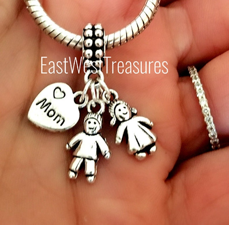 Mom of two twin boys girls charm bracelet necklace-mom boy girl charm-Mother son daughter gift for mom of two boy girl