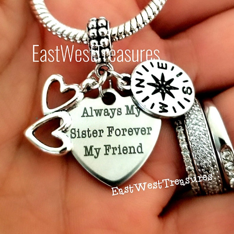 Sisters by Heart Gift Always My sister Forever my friend Sister By the Heart Gift Best Friend Sister Charm Bracelet Necklace Keychain