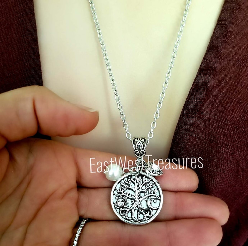 Mother/'s Family Tree of Life Sun Moon Jewelry gift for Mom from Son Mother and Son Love Heart Charm pendant Charm Necklace