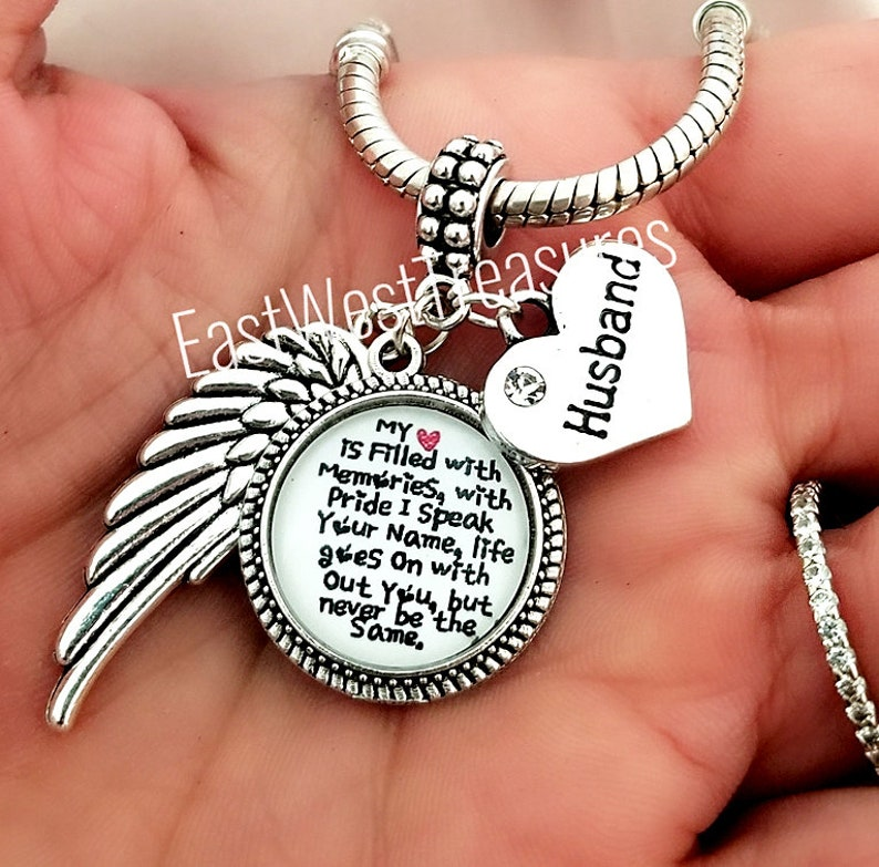 Dad Memorial Angel Wings w//Rhinestone Crystal Heart in Memory of Father Sympathy Gift