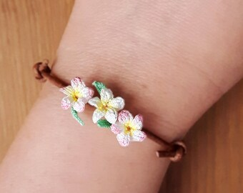 Accessories Hawaiian lei luau jewelry Tropical flowers cord jewelry Pink plumeria bracelet Accessories tropical gift idea Crochet bracelet