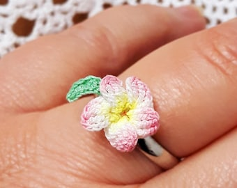 Tropical accessories Hawaiian flowers plumeria gift, Hawaiian plumeria ring pink, Hawaiian jewelry ring, Personalized jewelry gift for her