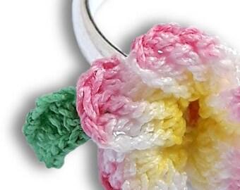 Plumeria jewelry, Pink flower ring crochet, Frangipani ring plumeria pink textile ring, Pink pastel ring lolita, Hippie rings adjustable