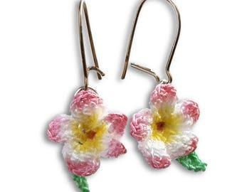 Plumeria earrings dangle pink plumeria jewelry, Frangipani earrings, Luau jewelry color personalized, Jewelry beach themed gift tropical