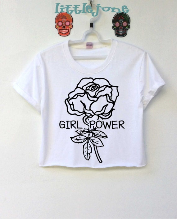 Girl Power Rose black crop top is screen for women size is S-M-L-XL ( This  showing is size S)