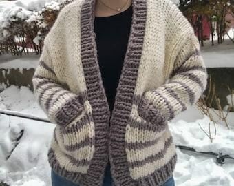 KNITTING PATTERN // Marshmallow World Cardigan // Chunky Knit Winter Jacket