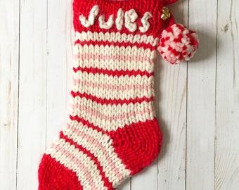 KNITTING PATTERN // Chunky Knit Personalized Christmas Stocking // Jingle Jangle Stocking