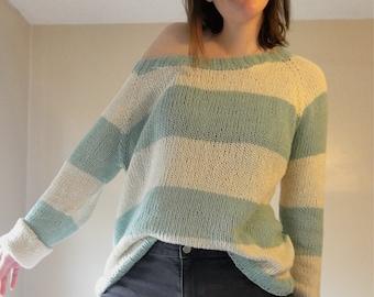 KNITTING PATTERN // Clam Bake Cotton Summer Pullover // Beach Sweater