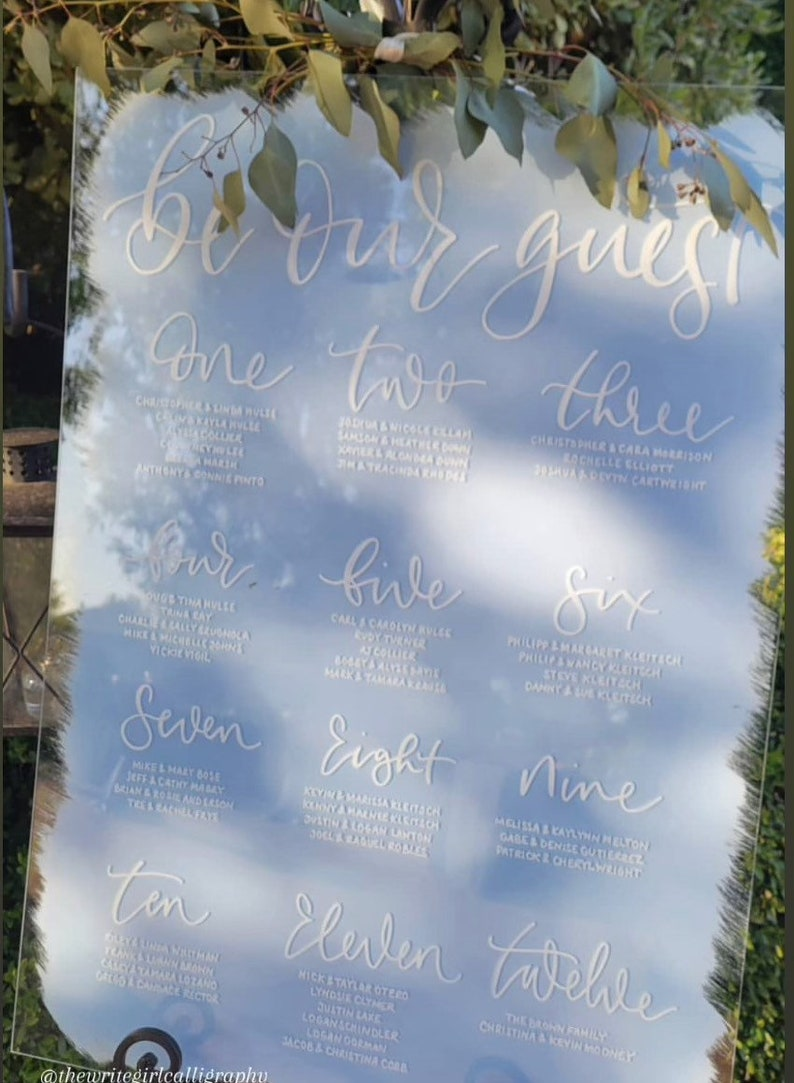 Acrylic Table Plan  Hand Written  Painted Back Seating Plan image 0