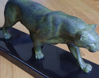 Art Deco Panther by Rulas, 1933. Bronze on Marble.