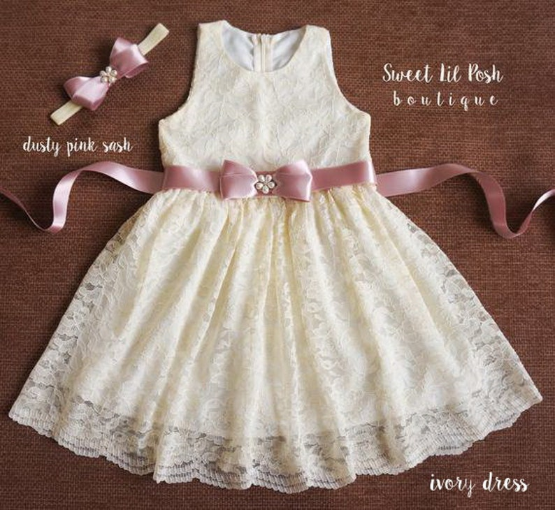 Ivory Lace girl dress Simply Grace Lace Flower Girl Dress image 0