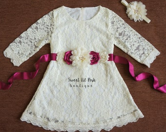 Ivory Lace Girl Dress, Rustic Flower Girl Dress, Country Flower Girl Dress, Junior Bridesmaid, Baby Toddler lace dress, Flower Girl Dress