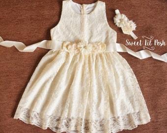 Ivory Lace Girls Dress, Flower Girl Dress, Lace Flower Girl Dress, Ivory Flower Girl, Rustic Flower Girl Dress, Country Wedding, Ivory Dress