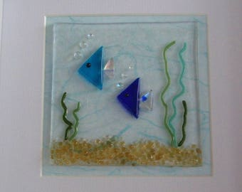 Two Blue Fish Fused Glass Picture