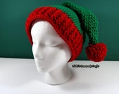 PATTERN Crochet Elf hat with Pom-Pom with table to make certain hat sizes