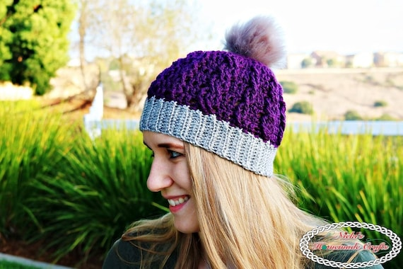 2058012af Crochet Pattern  Ribbed Cable Textured Beanie adult winter