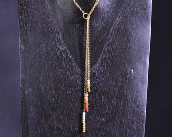 Hesperides necklace - Garnet and gold plated