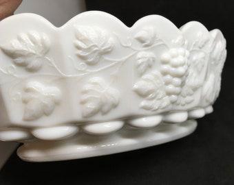 Vintage Westmoreland Paneled Milk Glass Grape Pattern Dish