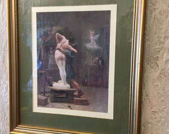 Pygmaleon & Galatea Framed Print under glass with gold vintage frame
