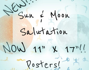 sun and moon salutation posters watercolor astronomical