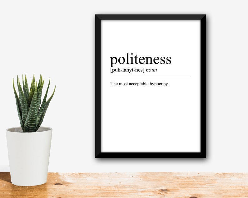 Politeness Definition Print Dictionary Page Quote Ambrose Bierce Typography  Wall Art Devils Poster Word Funny Gift Meaning Printable Polite