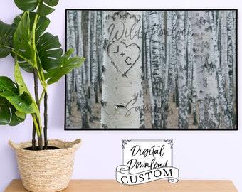 Carved Tree Initials Wedding Gift Custom Wedding Gift Anniversary Gift Birch Tree Engagement Gift Custom Gift