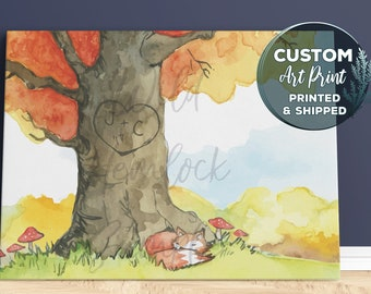 Personalized Gift Mother's Day Gift Custom Wedding Gift for Her Gift for Him Custom Watercolor Initials Carved Tree Rustic Wedding Initials