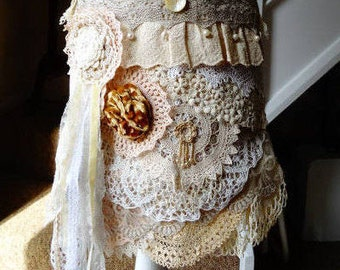 Antique / Vintage Layered Lace Gypsy Shoulder Bag - Handmade - OOAK